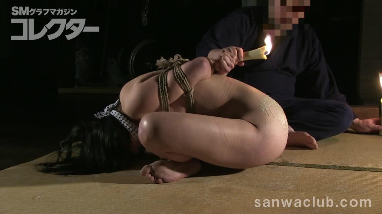 胡坐のまま緊縛された人妻はガチなマゾだった。ロウソクを浴びせられ、更に尻の割れ目からロウを流し込まれ快感を覚える。